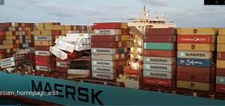 Maersk Essen, following its stack collapse showed containers liberally spread across the deck as twistlocks apparently failed.